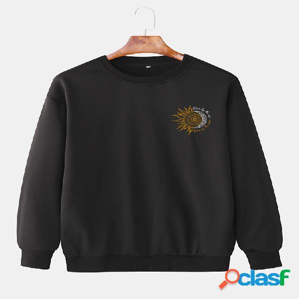 Suéter masculino simples diário solto com combinação de sol e lua padrão
