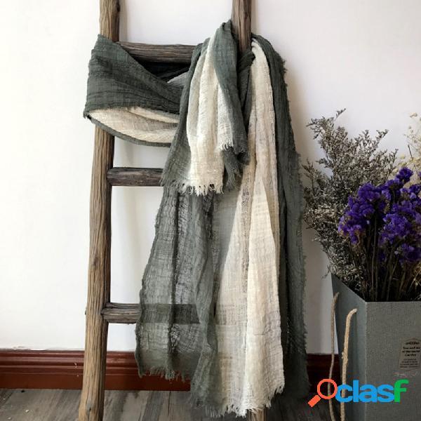 Algodão e linho pendurado tingimento contraste cor gradiente costura lenço superdimensionado estilo literário retro xale mori feminino