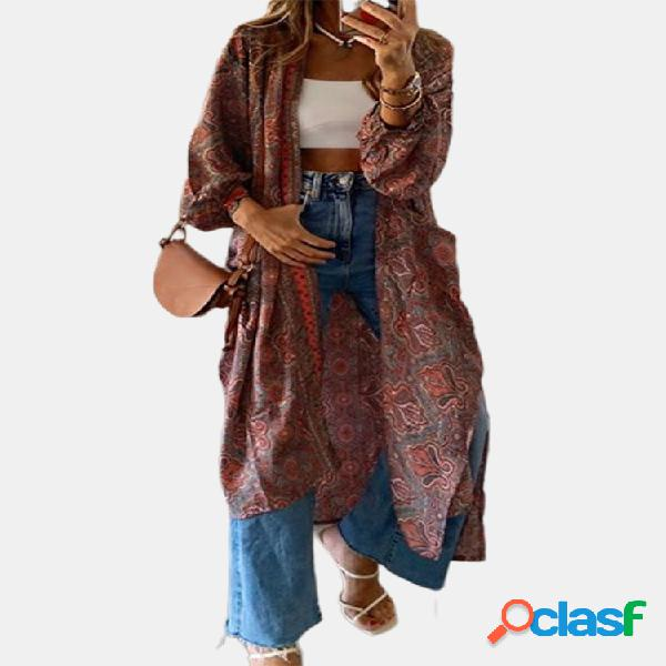 Bohemian print cardigan manga comprida para mulheres