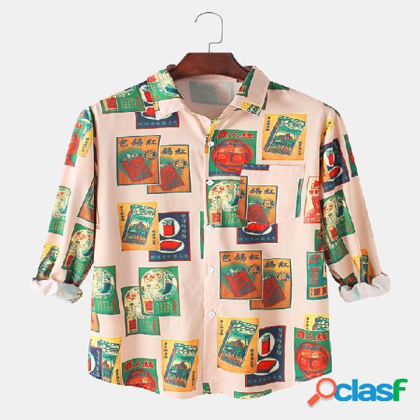 Camisas de manga comprida masculina com estampa gráfica vintage relaxada e com bolso no peito