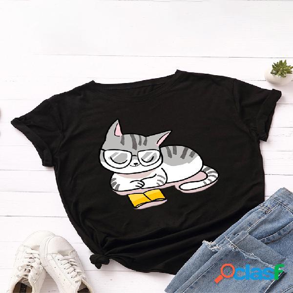 T-shirt de manga curta com gola o com estampa de gato cartoon