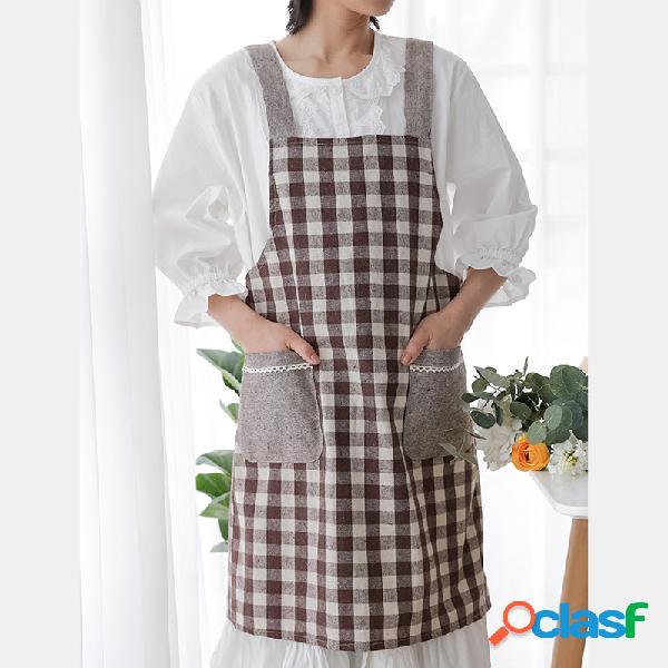 Avental de ganga com alça de algodão e linho estilo japonês e coreano avental de mão que pode ser limpo de cozinha