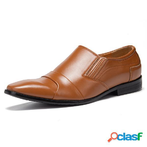 Couro de microfibra masculino antiderrapante em sapatos formais casuais