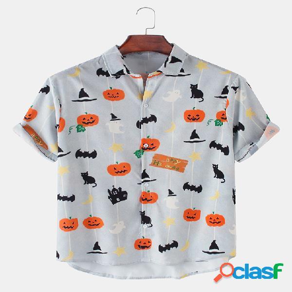 Homens halloween engraçado abóbora gato impresso casual solto camiseta manga curta