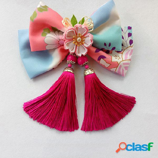 Bows bows tassels cabelo acessórios estilo japonês clipes de impressão cabelo