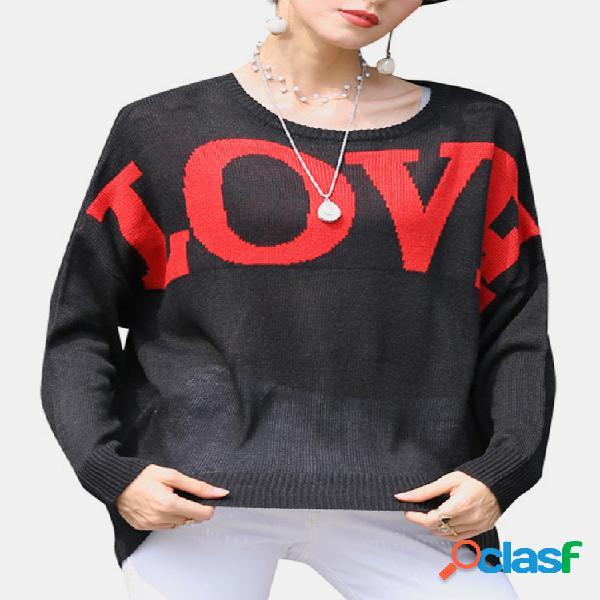 Camisola de malha de manga comprida de manga comprida com gola em o com impressão de cartas de amor