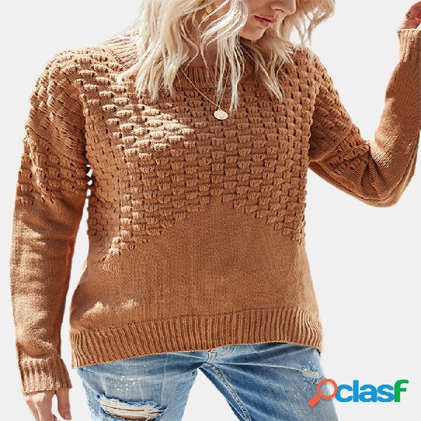 Camisola de manga comprida com decote em o de cor sólida
