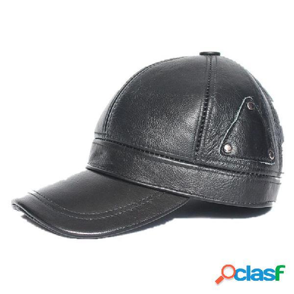 Homens couro genuíno mantenha aquecido plus grosso orelha beisebol casual protegido chapéu