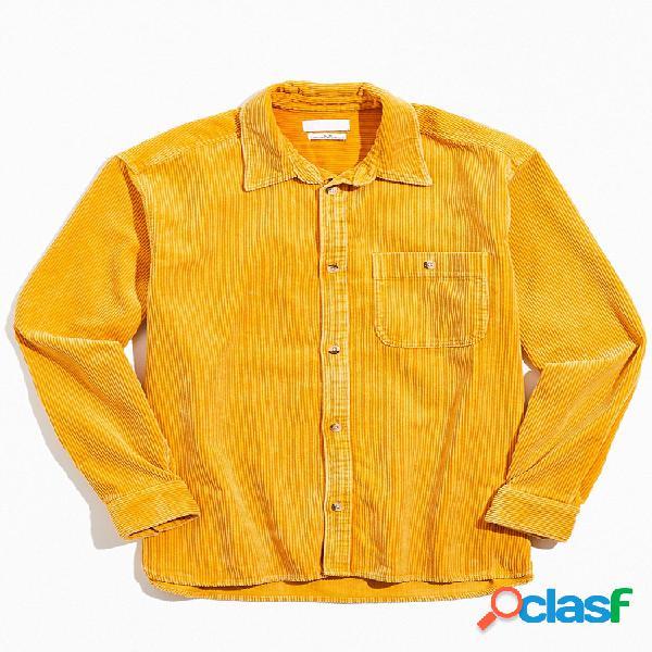 Lapela masculina de veludo cotelê cor sólida básica casual camisa de manga longa com bolso