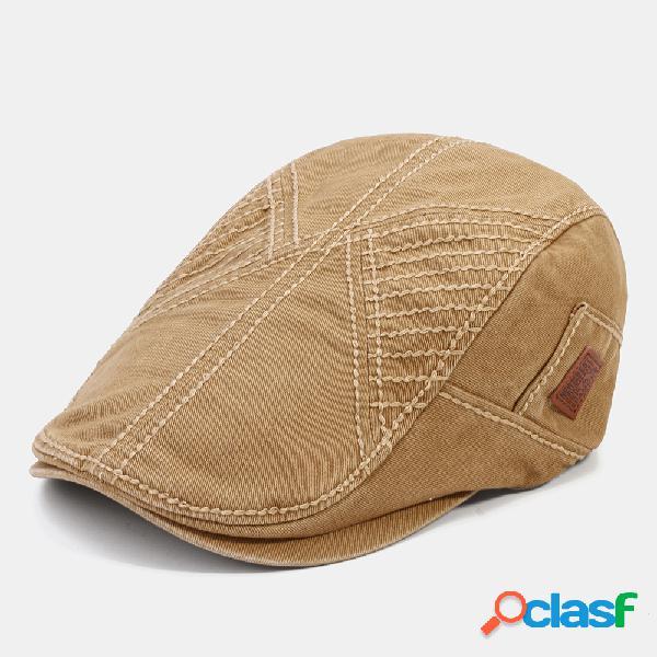 Masculino cor sólida casual ao ar livre avançado chapéu boina chapéu - cáqui
