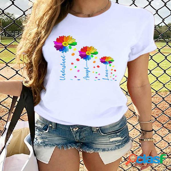Colorful camiseta de manga curta com estampa floral para mulheres