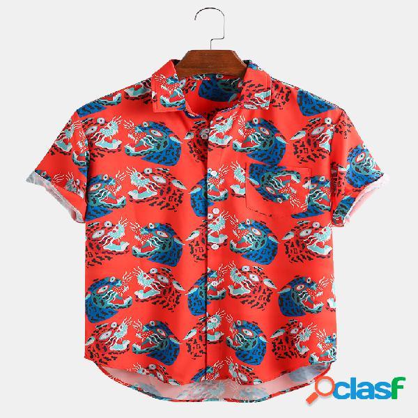 Desenhos animados masculinos com estampa de animal no peito, bolso de manga curta solta camisa