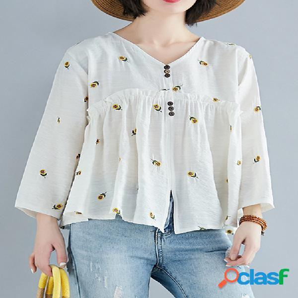 Blusa bordada flor manga longa solta para mulheres