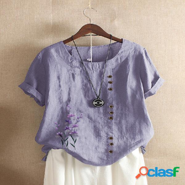 Camiseta feminina com decote em o bordado floral de manga curta