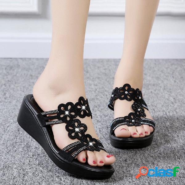 Mulheres casual oco strass flores peep toe cunhas sandálias