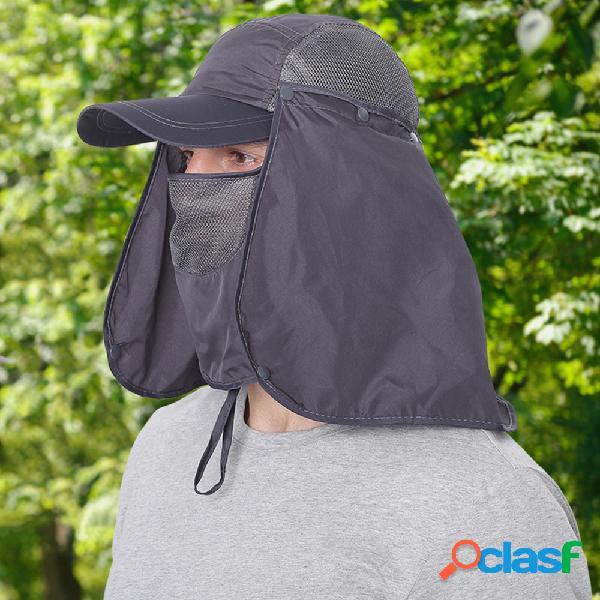 Protetor solar respirável anti-ultravioleta para alpinismo fisherman chapéu secagem rápida destacável