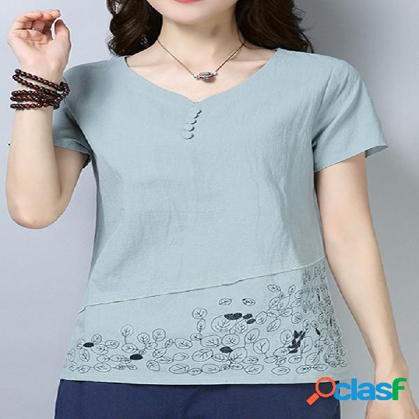 T-shirt com decote em v de manga curta bordada com folhas para mulheres