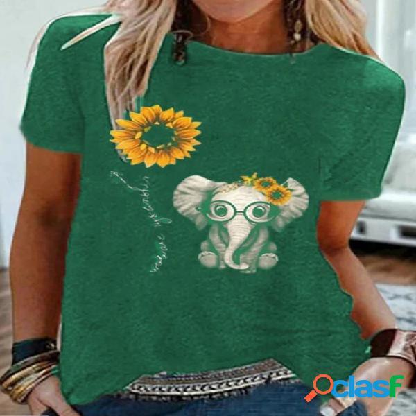 T-shirt de manga curta para mulheres com estampa de flores de elefante cartoon