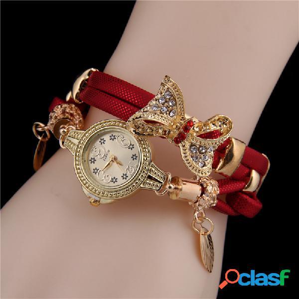 Arco de strass moderno pingente relógio pulseira de couro multicamada joias vintage