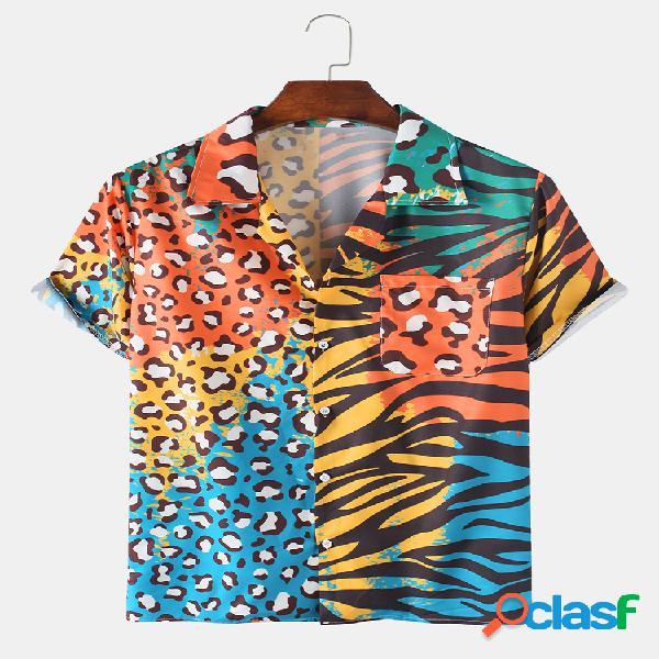 Mens ethnic zebra stripe & leopard print patchwork férias revere collar manga curta camisa