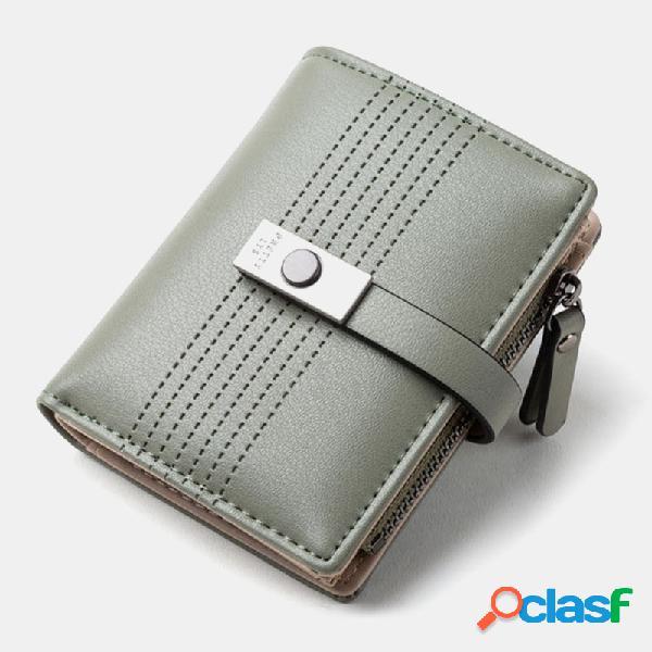Mulheres 6 slots de cartão bifold sólidos curto carteira bolsa