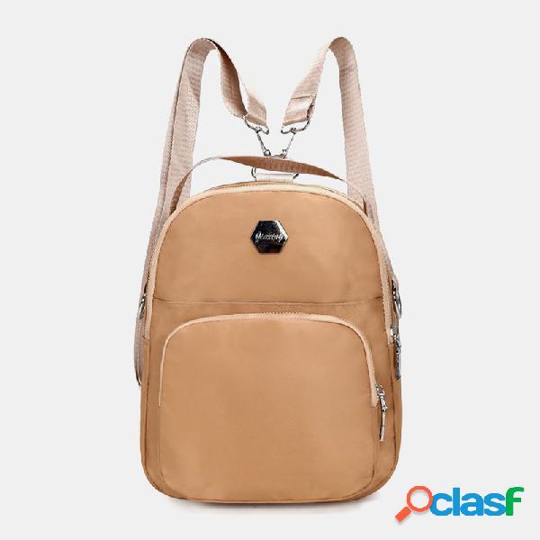 Mulheres nylon waterproof grande capacidade handbag backpack