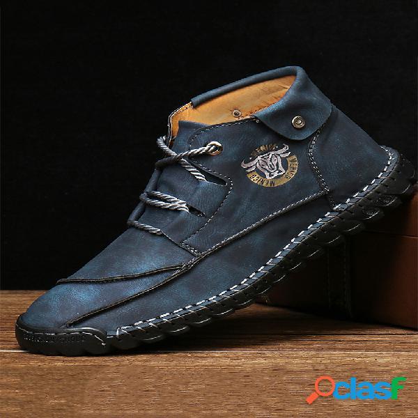Botas de couro de microfibra menico masculino com costura à mão soft