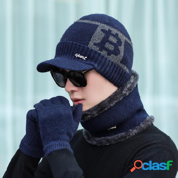 Lenço dos homens chapéu luvas de três peças terno de malha à prova de vento cap plus espessamento do lenço chapéu