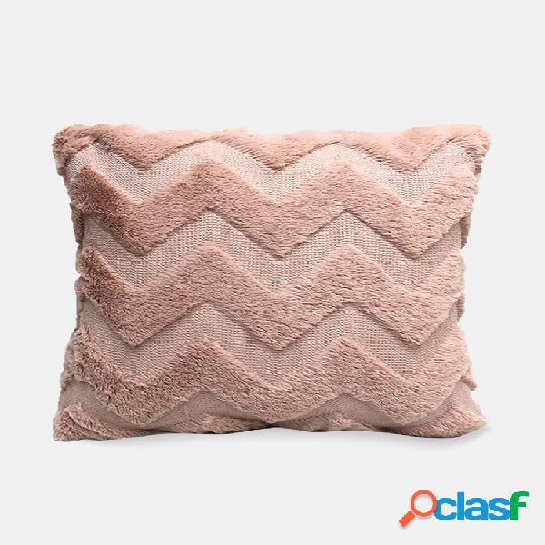 Almofada simples bordado de pelúcia sofá cor sólida almofada quarto almofada sala cintura fronha