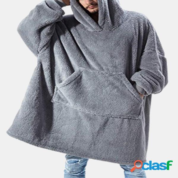 Cobertor de flanela engrossar quente com capuz aconchegante soft robes grandes para casa com bolso canguru