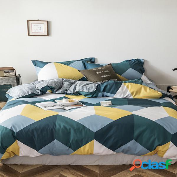 3/4 pcs geométrico padrão contraste cor ab sided aloe algodão conjunto de roupa de cama lençol de tecidos confortáveis capa de edredão fronha