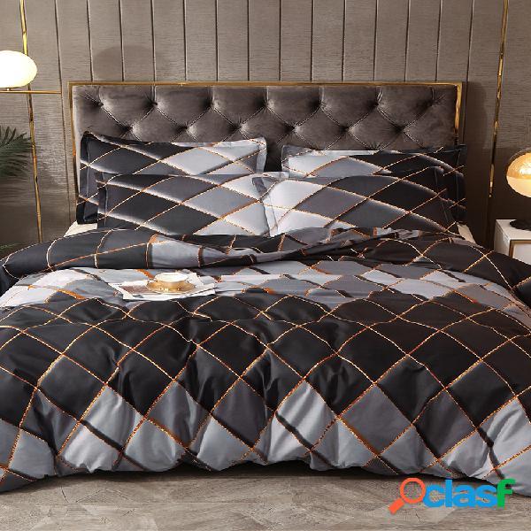 2/3 pcs marrom geométrico rhombus cor grade de cama soft confortável fronha de colcha