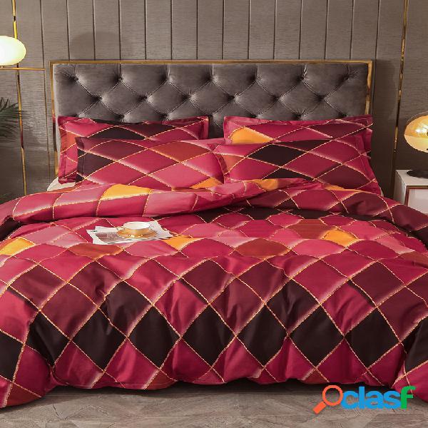 2/3 pcs vermelho geométrico rhombus cor grade de cama soft fronha de colcha confortável