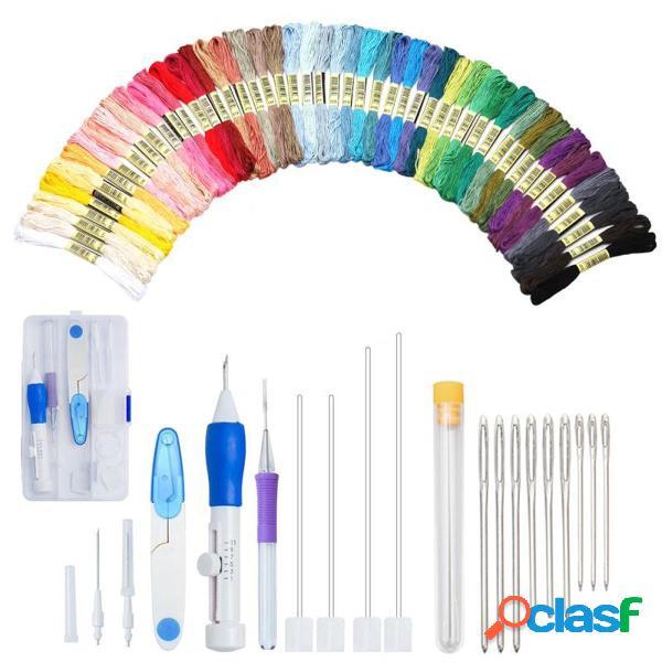 Conjunto de caneta mágica de bordado diy conjunto de ferramentas de costura de tricô agulha de punção ajustável