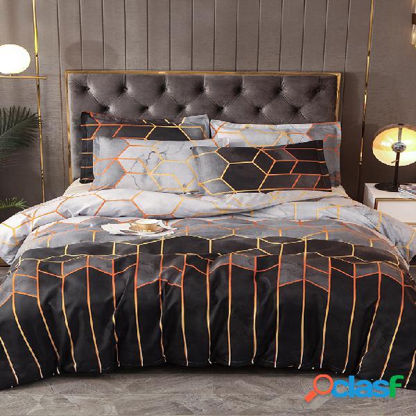 Conjunto de roupa de cama geométrica 2/3 unidades branco preto dourado conjunto de capa de cama de poliéster fronha queen king tamanho