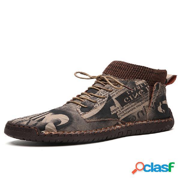 Painéis elásticos antideslizantes de couro com costura à mão soft sola casual botins