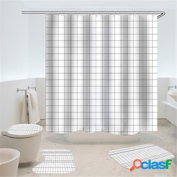 4 unidades / conjunto de cortina de chuveiro egípcio à prova d'água + tampa de banheiro antiderrapante porta tapete de banheiro