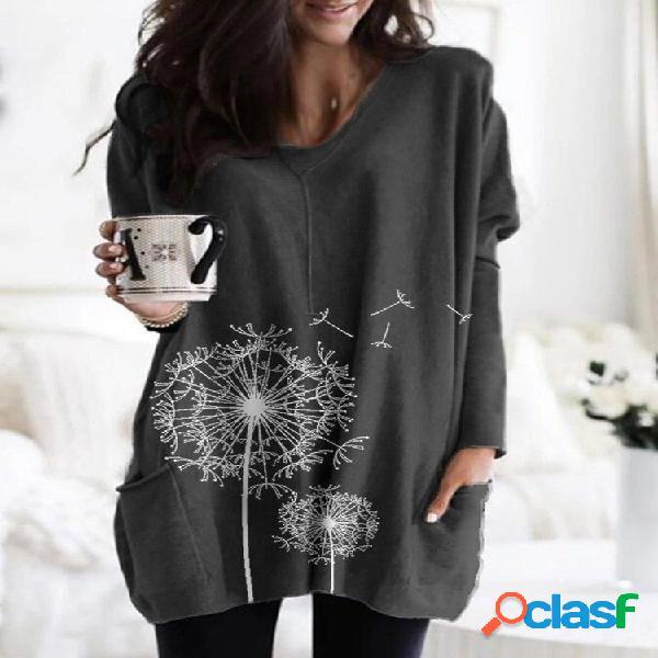 Blusa de manga comprida solta com estampa de flores para mulheres
