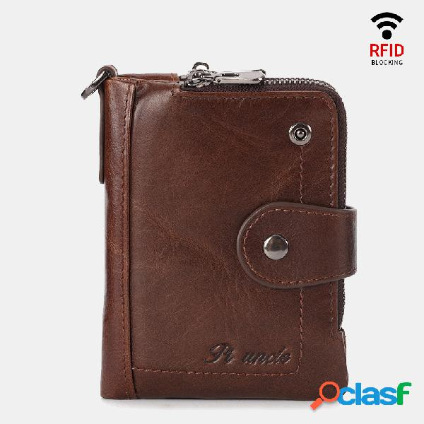 Carteira casual rfid antimagnetic couro genuíno zipper purse