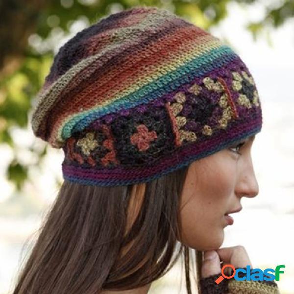 Chapéus de malha casual de bloco de cor das mulheres