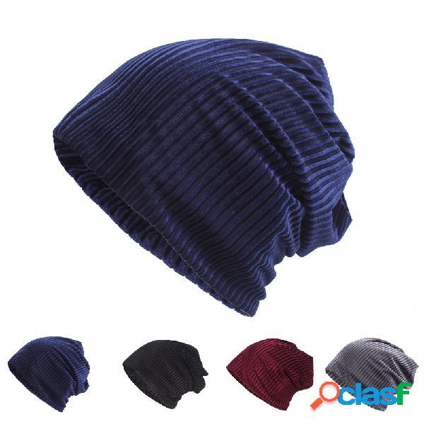 Gorro de algodão de veludo étnico das mulheres chapéu vintage bom elástico quente inverno tampas do turbante