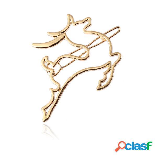Clipe de cabelo bonito de prata oco de ouro animais dos cervos grampo de cabelo acessórios de jóias de cabelo para as mulheres