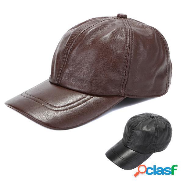 Couro de pu masculino octogonal quente chapéu casual ourdoors vintage ajustável boné de beisebol