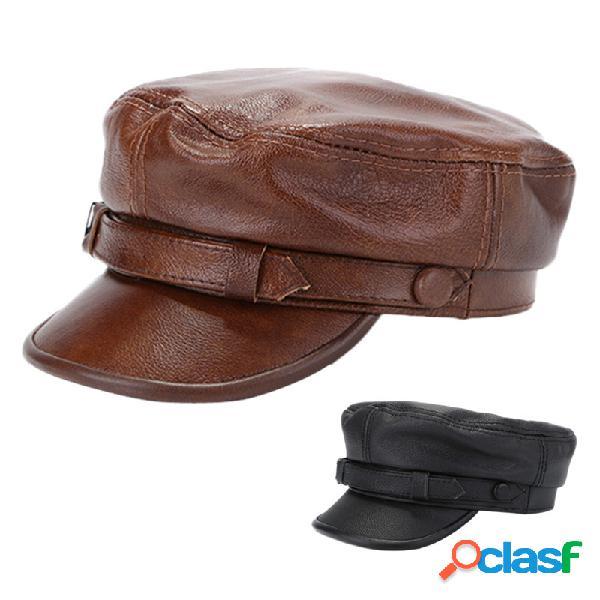Couro pu masculino octogonal plano chapéu boné ajustável casual ourdoors vintage