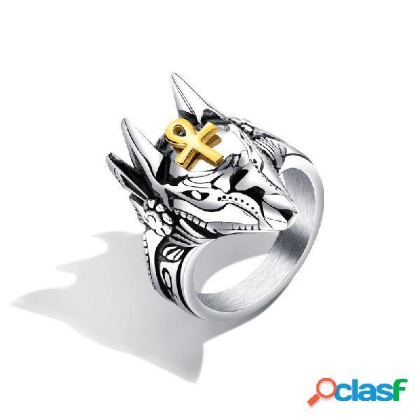 Anéis de dedo do punk titanium aço cruz anubis cabeça retrato anéis de dedo acessórios jóias para homens
