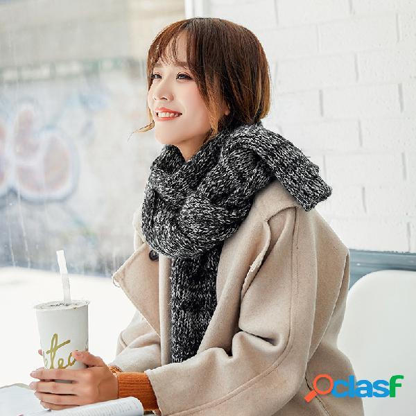 Mulheres grosso estilo étnico de lã de tricô cachecol casual quente respirável protetor solar lenço