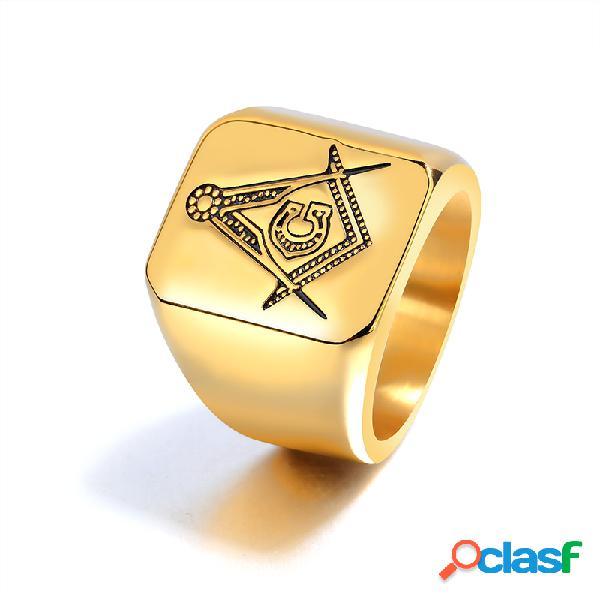 Anéis de dedo da moda titanium steel padrão anéis de dedo geométricos acessórios de mão joias para homens