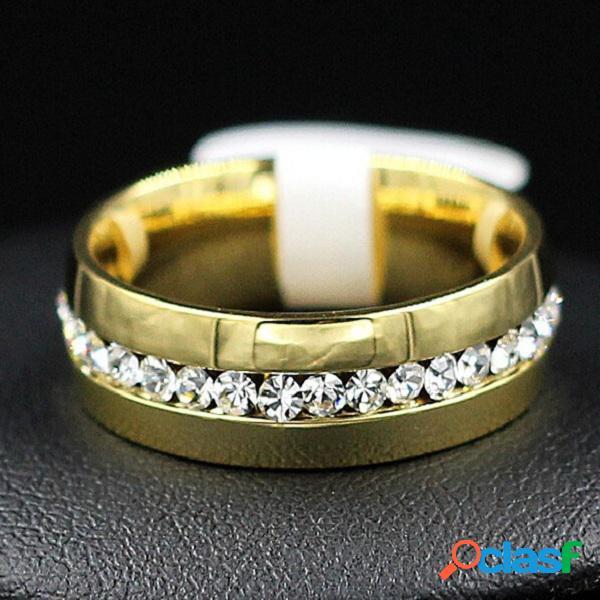 Anéis de dedo de moda em aço inoxidável strass prata anéis de dedo de ouro acessórios jóias para homens