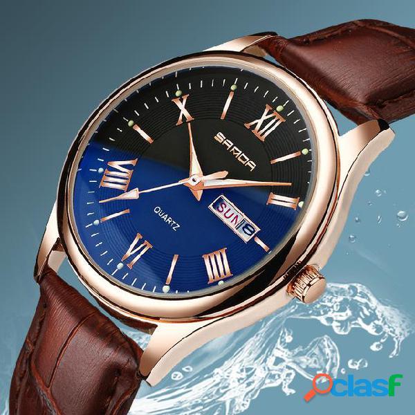 Classic homens de couro banda relógio de exibição luminosa estilo de negócios relógio de quartzo