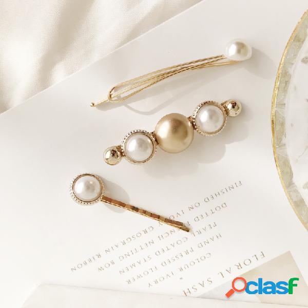 Elegante pérola one-band cabelo clipe cabelo bang clipe para as mulheres de liga de ouro cabelo acessórios